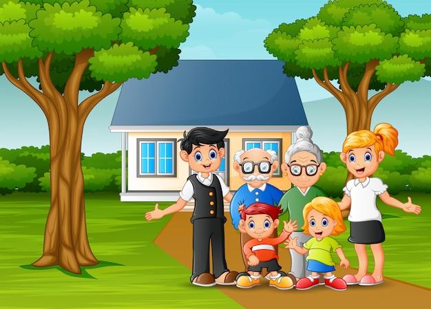 家の庭の前で漫画家族