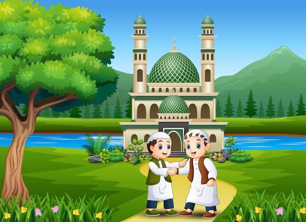 Мусульманин рукопожатие для ид мубарак