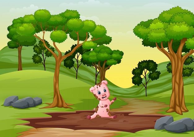 小さな豚が森への道で泥の水たまりを再生