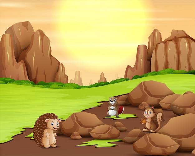 太陽の背景で遊ぶ動物漫画