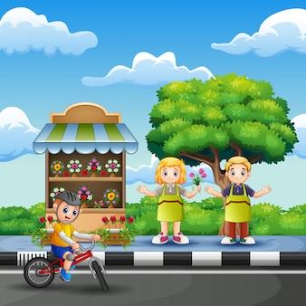 花屋の女の子と男の子のフラワーショップ