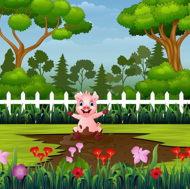 小さな豚が公園で泥の水たまりを再生