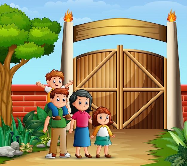 入り口の門で家族の漫画