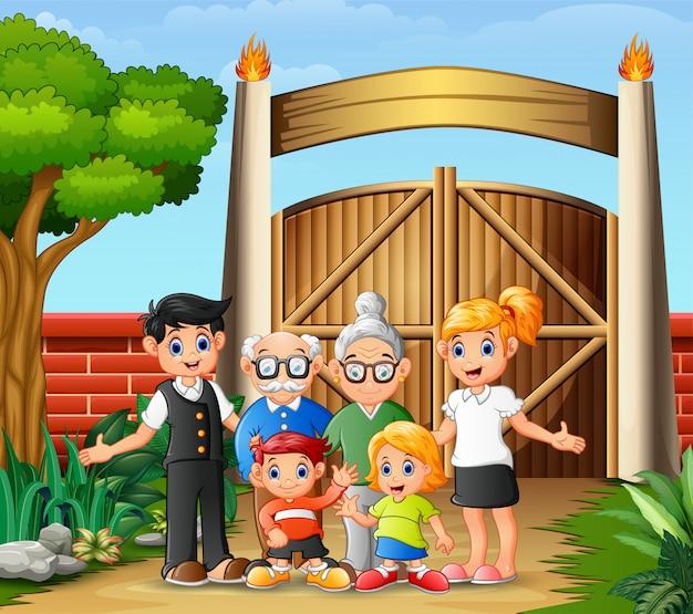 入り口の門の大家族の肖像画
