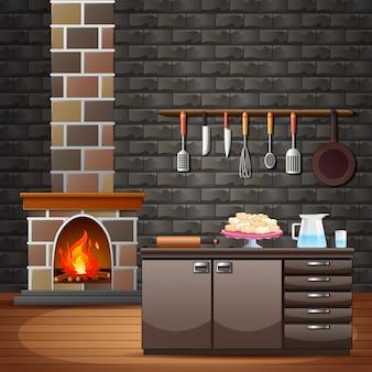 キッチンの近くの伝統的な家の暖炉