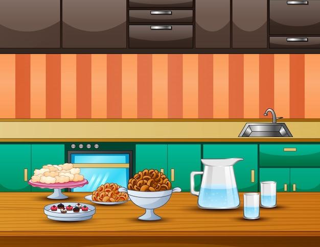 朝食の食べ物と飲み物を提供するテーブル