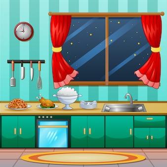 夕食の料理とキッチンインテリアの背景