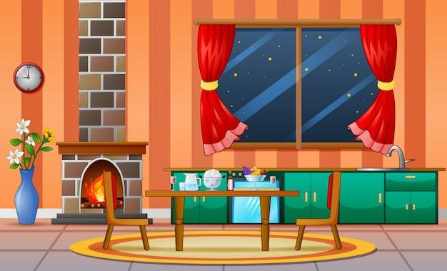 暖炉のある居間の家族の家のインテリア家具