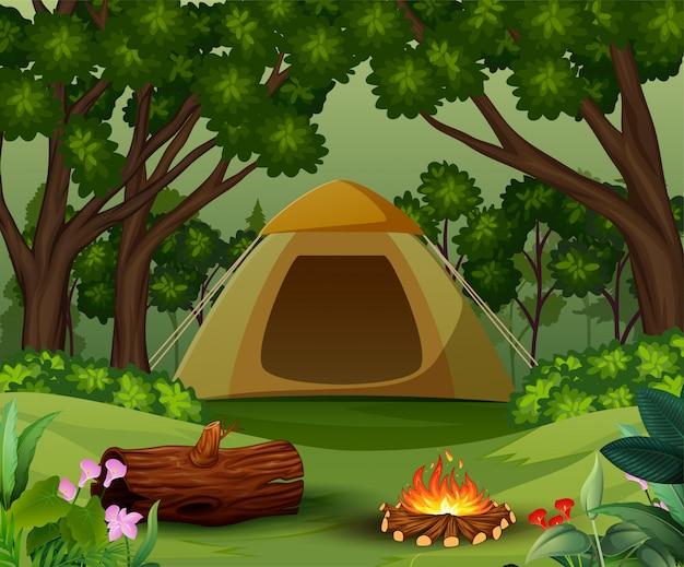 森の背景にき火のテント