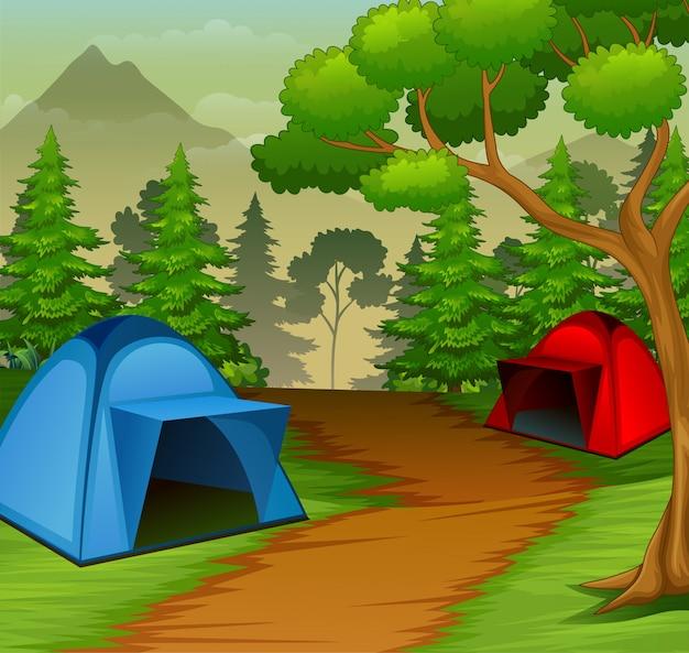 自然の中のキャンプ場の背景