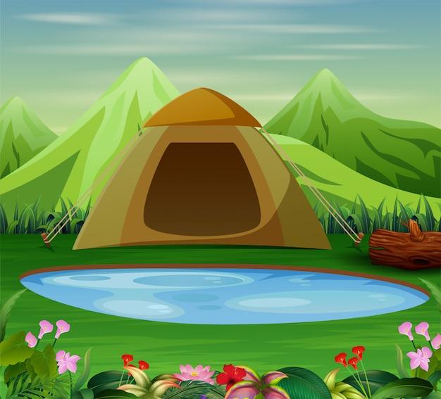 美しい自然の風景でキャンプ