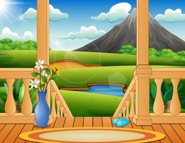 美しい自然の風景を見下ろすテラス