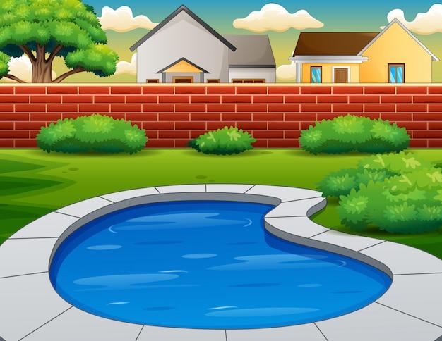 裏庭のプールの背景