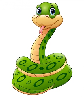 かわいい緑のヘビ動物漫画
