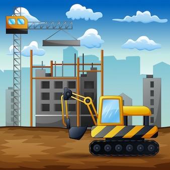 建設現場でのバックホウの背景
