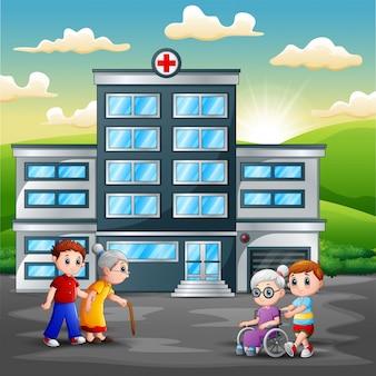 病院の前の家族