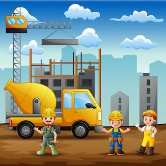 建設現場の背景で建設労働者
