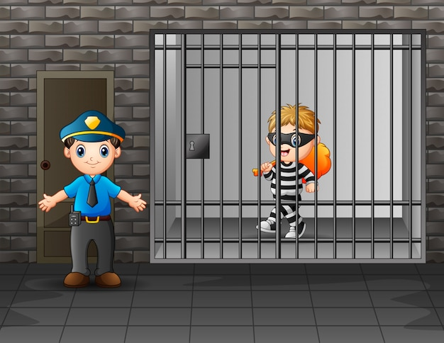 刑務所の看守に守られている刑務所の囚人