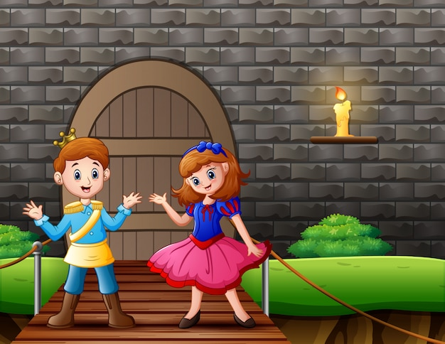 王子と家の前の白雪姫