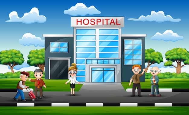 病院の前で医療スタッフチームコンセプト
