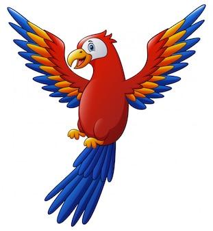 飛んでいるかわいいコンゴウインコ鳥漫画