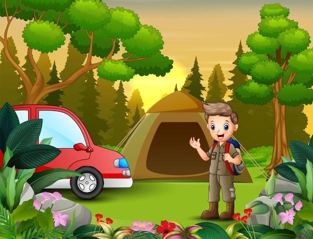 スカウトボーイズと赤い車との夏のキャンプ