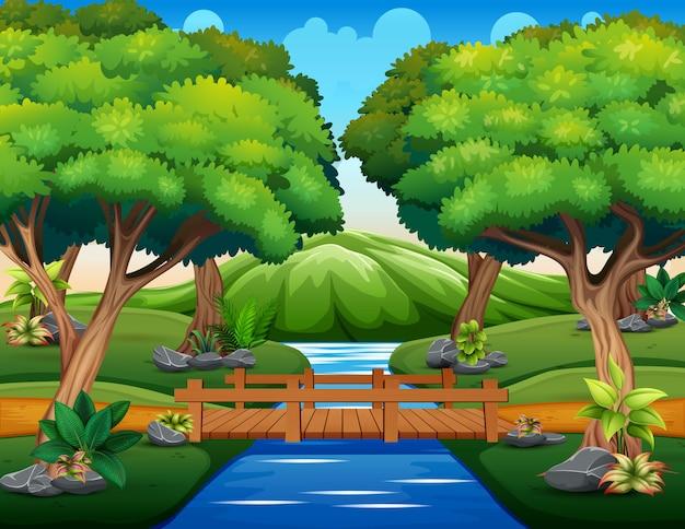 森の中の小さな木製の橋の漫画