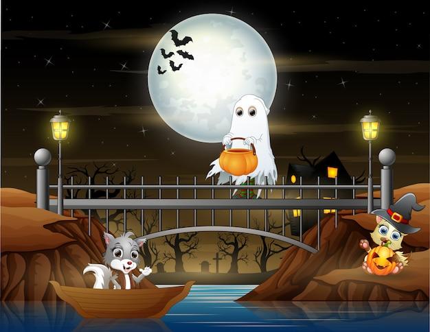 橋の上の幸せな白い幽霊