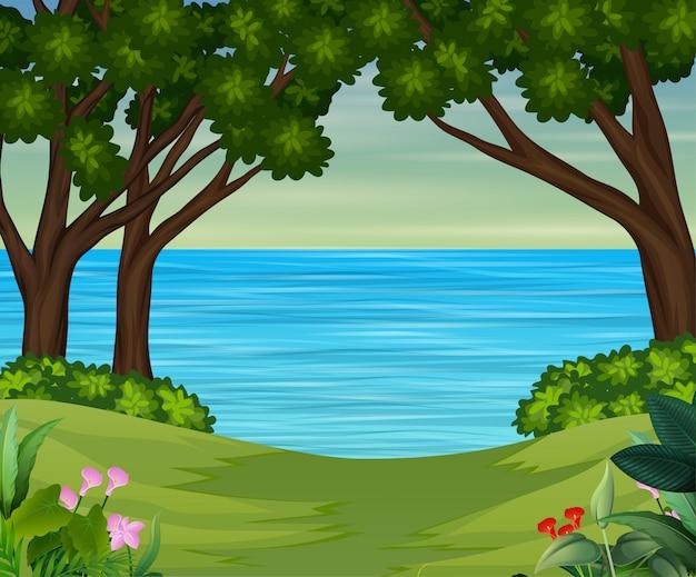 Речной пейзаж в лесу иллюстрации