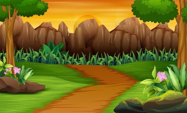 日没の風景と石のフェンス