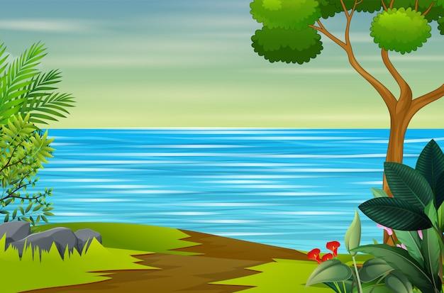 Речной пейзаж в природе иллюстрации