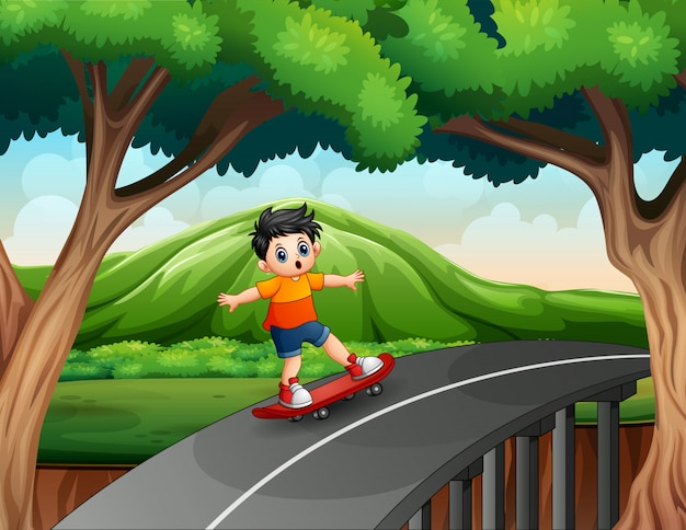 路上でスケートボードに乗る少年