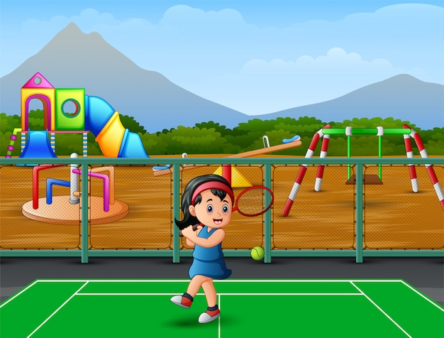 Мультфильм маленькая девочка играет в теннис