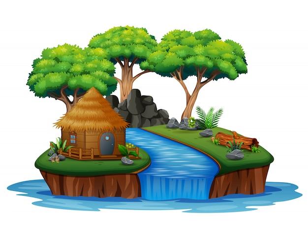 Остров с иллюстрацией хижины и водопада