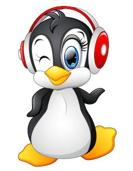 イヤホン付き漫画ペンギン