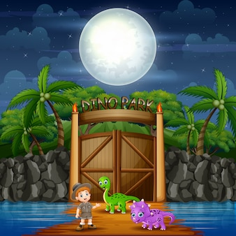 Дино парк ночной пейзаж с динозаврами и разведчиком