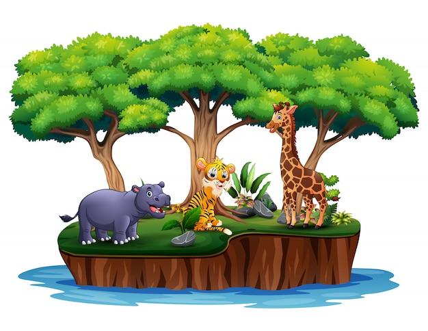 多くの動物と漫画の熱帯の島
