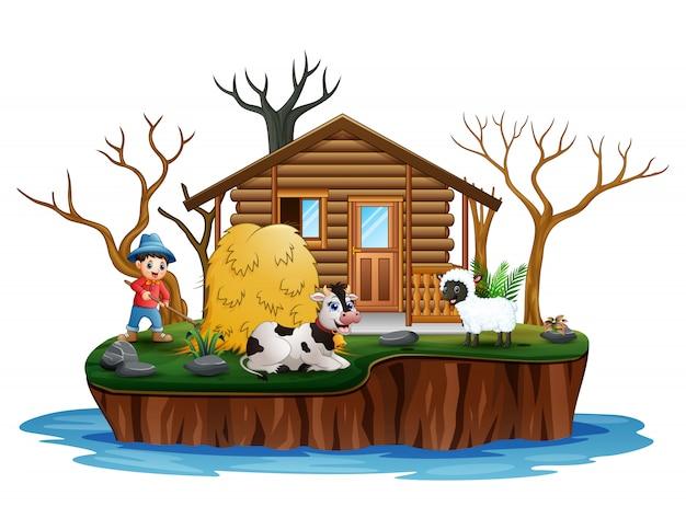 島の動物と働く若い農夫