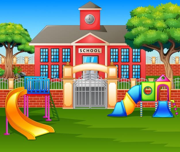 校庭前の子供の遊び場エリア