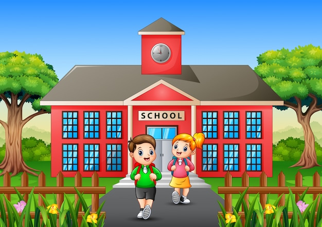 放課後帰宅する幸せな学生