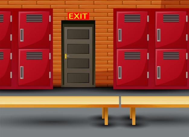 Раздевалка школьной спортивной раздевалки и входная дверь
