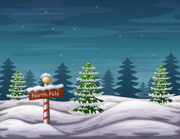 Знак северного полюса в лесу чудес зимнего отдыха