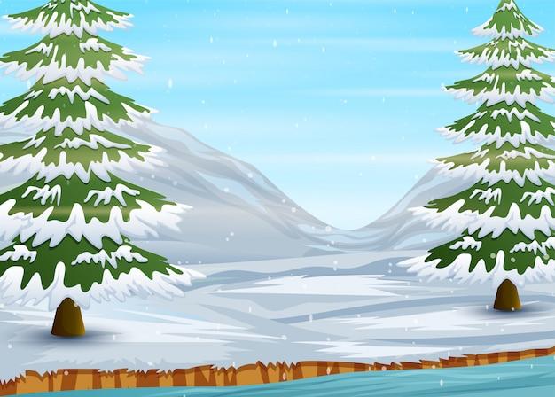凍った湖とモミの木のある冬景色