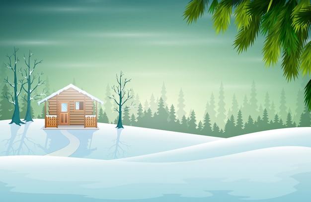 美しい自然の中のランドケープと家