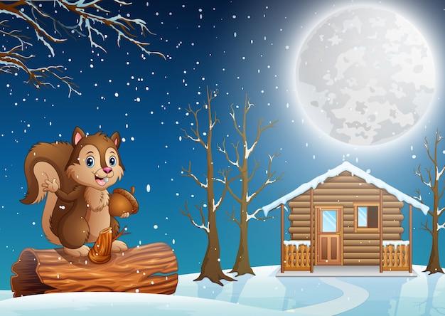 Белка мультфильм, наслаждаясь снегопадом в снежной деревне