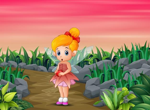 漫画の心を持ってかわいい小さな愛の妖精