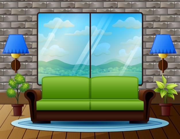ソファ付きのリビングルームと窓からの自然の景色