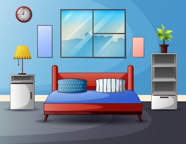 Внутреннее пространство спальни с кроватью у окна