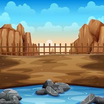 Летняя пустыня и озеро на земле