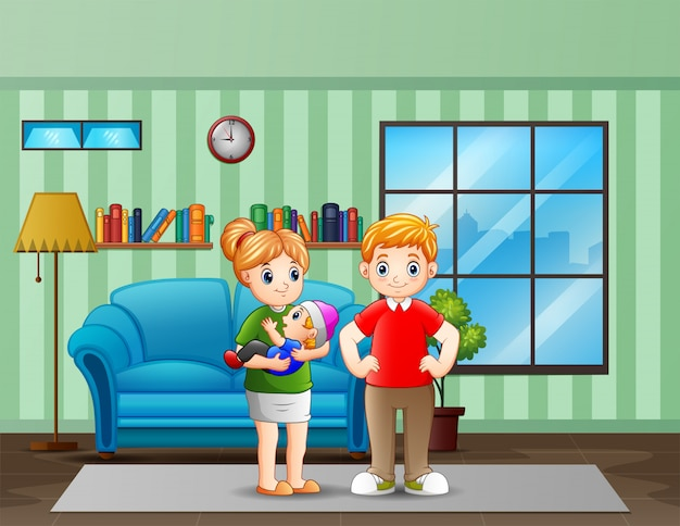 Родители пара с маленьким ребенком в гостиной